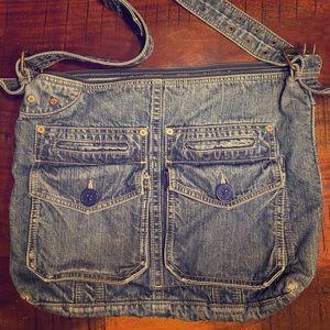 Large jean book bag, computer bag